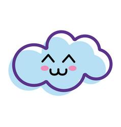 Kawaii happy cloud icon vector
