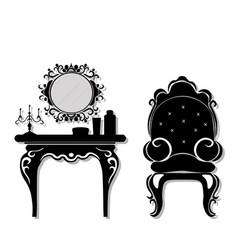 Vintage black furniture set rich carved vector