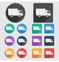 Delivery truck flat icons vector
