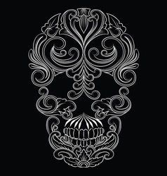 Skull Line Ornament vector image