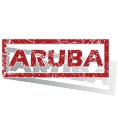 Aruba outlined stamp vector