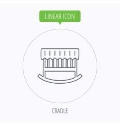 Baby cradle bed icon crib or cot sign vector