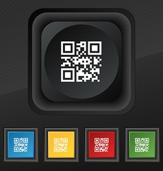 Qr code icon symbol set of five colorful stylish vector