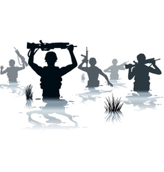 Wading soldiers vector