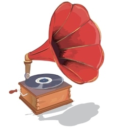 Old gramophone first music on vinyl vector