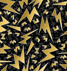 Retro 80s 90s thunder bolt ray pattern gold fancy vector