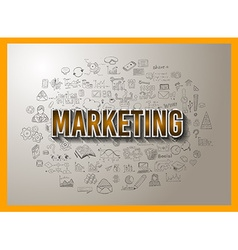 Marketing concept with doodle design style vector