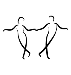Dancing couple isolated silhouette vector