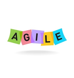 Agile word logo agile letters with overlay color vector