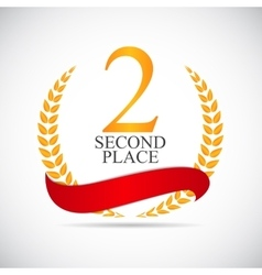 Second place laurel design label vector