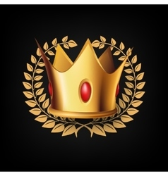 Golden royal crown with laulel wreath vector