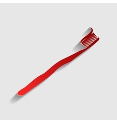 Toothbrush with applied toothpaste portion vector