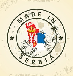 Stamp with map flag of serbia vector