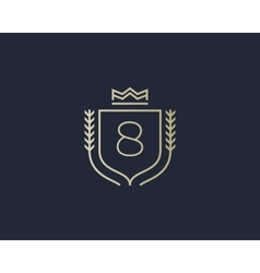 Premium number 8 ornate logotype elegant numeral vector