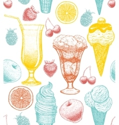 Background with ice-cream cocktail fruits vector