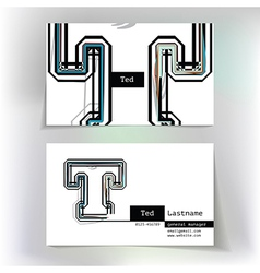 Business card design with letter T vector image vector image