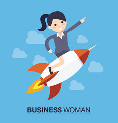 businesswoman over a rocket vector image