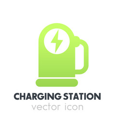 car charging station charger for ev icon vector image vector image