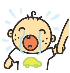 Cartoon crying baby isolated vector