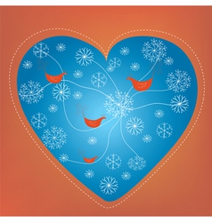 Christmas heart holiday card with snow vector image