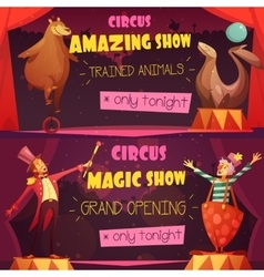 Circus 2 Retro Cartoon Banners Set vector image vector image
