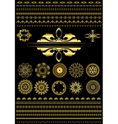 Collection of gold border on black background vector