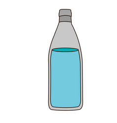 Colorful silhouette with bottle of water and vector