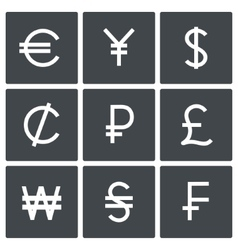 Currency icon set vector