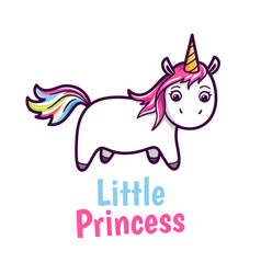 Cute baby unicorn with rainbow color hairs vector