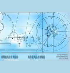 Drawing mechanical drawings on a blue background vector