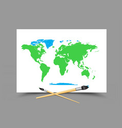 drawing world map on white paper vector image