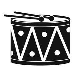 Drum and drumsticks icon simple style vector