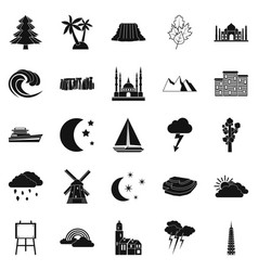 Dusk icons set simple style vector