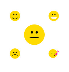 flat icon face set of joy descant grin and other vector image