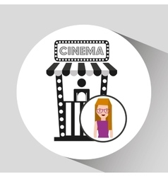 Girl cartoon and ticket office icon cinema graphic vector