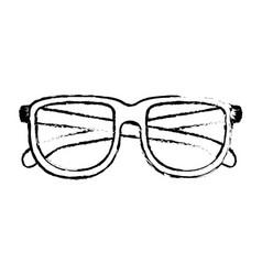 glasses icon in black blurred contour vector image