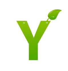 green eco letter y illiustration vector image