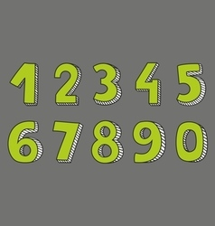 Green numbers isolated on grey background vector image
