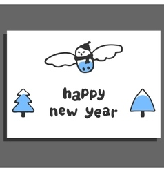 Happy new year greeting card with cute cartoon vector