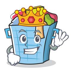 King laundry basket character cartoon vector