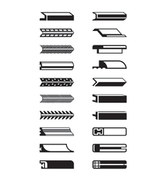 Metal plastic and wooden trims vector image