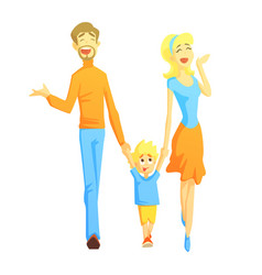Parents taking a walk with son holding hands vector