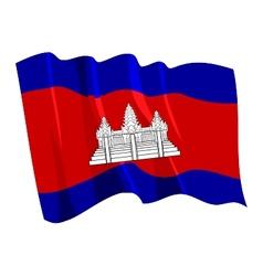 political waving flag of cambodia vector image vector image