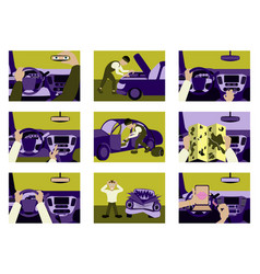 set of car from inside vector image vector image