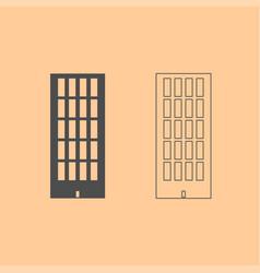 sky tower building dark grey set icon vector image vector image