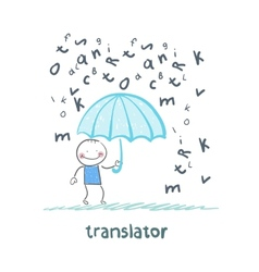 translator is faced with an umbrella from the rain vector image