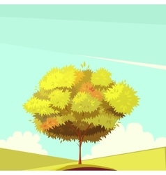Tree with root retro cartoon vector