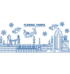 Usa florida tampa winter city skyline merry vector