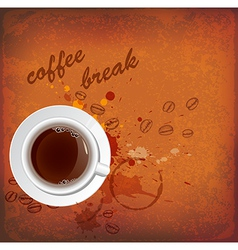 Vintage background with white cup of coffee vector image vector image
