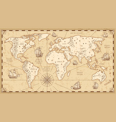 vintage physical world map with rivers and vector image vector image